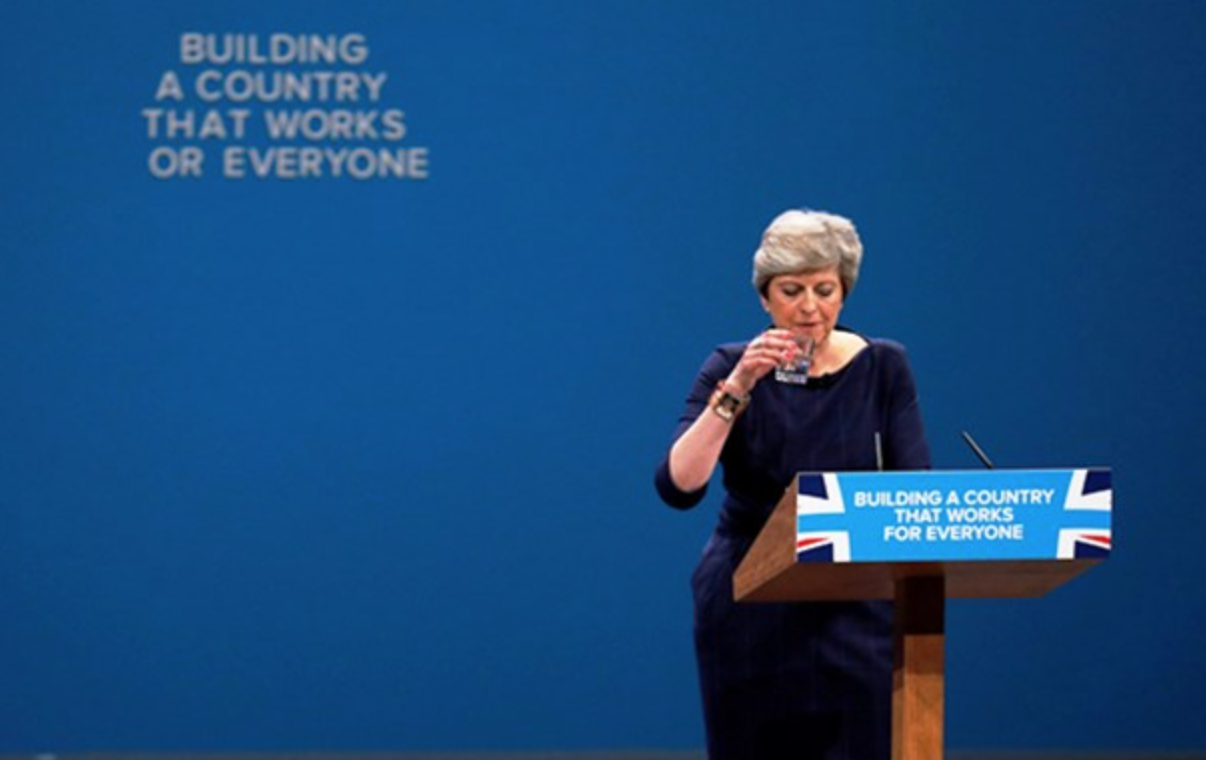 Communications management – Theresa May cough Manchester conference