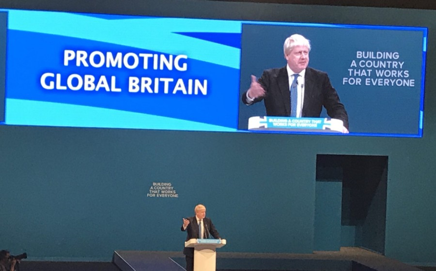 Boris Johnson Tory conference Manchester Theresa May