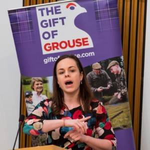 Chef Brian Grigor and MSP Kate Forbes, Gift of Grouse, Scottish Parliament, Holyrood