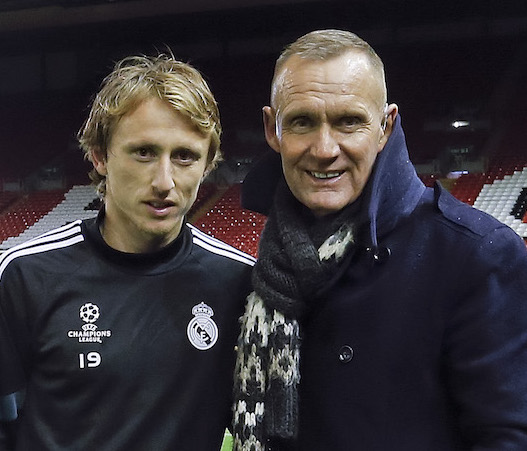 Aqua Running suit inventor Terry Nelson with Luka Modric of Real Madrid